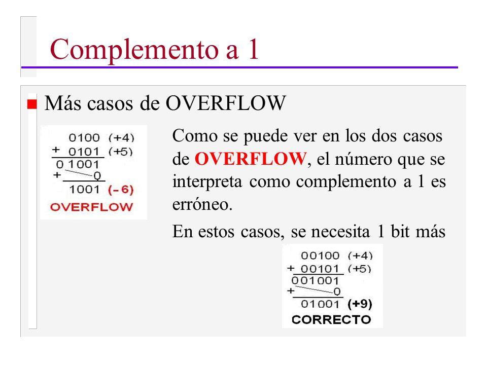 n Más casos de OVERFLOW Como se puede ver en los dos casos de OVERFLOW, el número que se interpreta como complemento a 1 es erróneo.