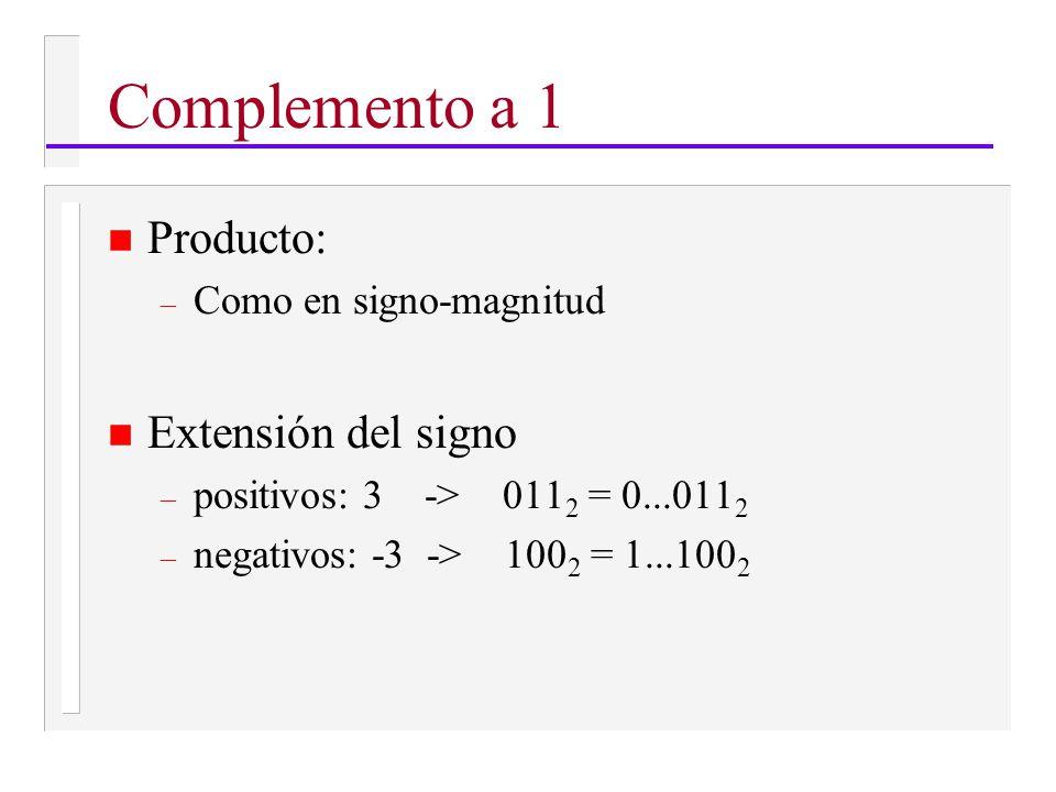 n Producto: – Como en signo-magnitud n Extensión del signo – positivos: 3 -> 011 2 = 0...011 2 – negativos: -3 -> 100 2 = 1...100 2