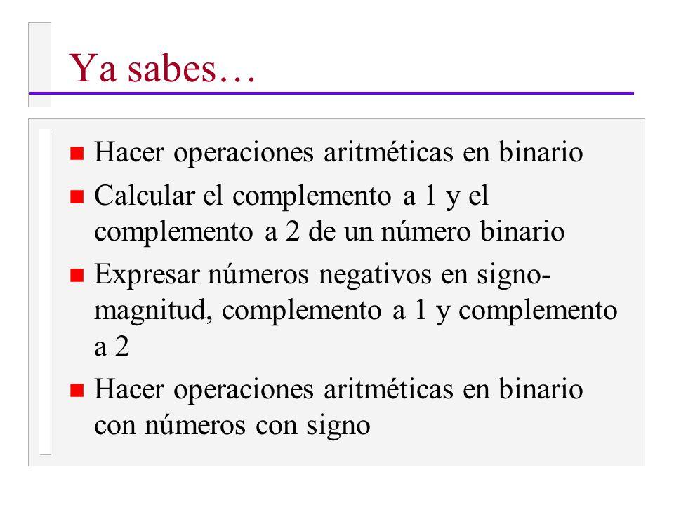 Ya sabes… n Hacer operaciones aritméticas en binario n Calcular el complemento a 1 y el complemento a 2 de un número binario n Expresar números negativos en signo- magnitud, complemento a 1 y complemento a 2 n Hacer operaciones aritméticas en binario con números con signo