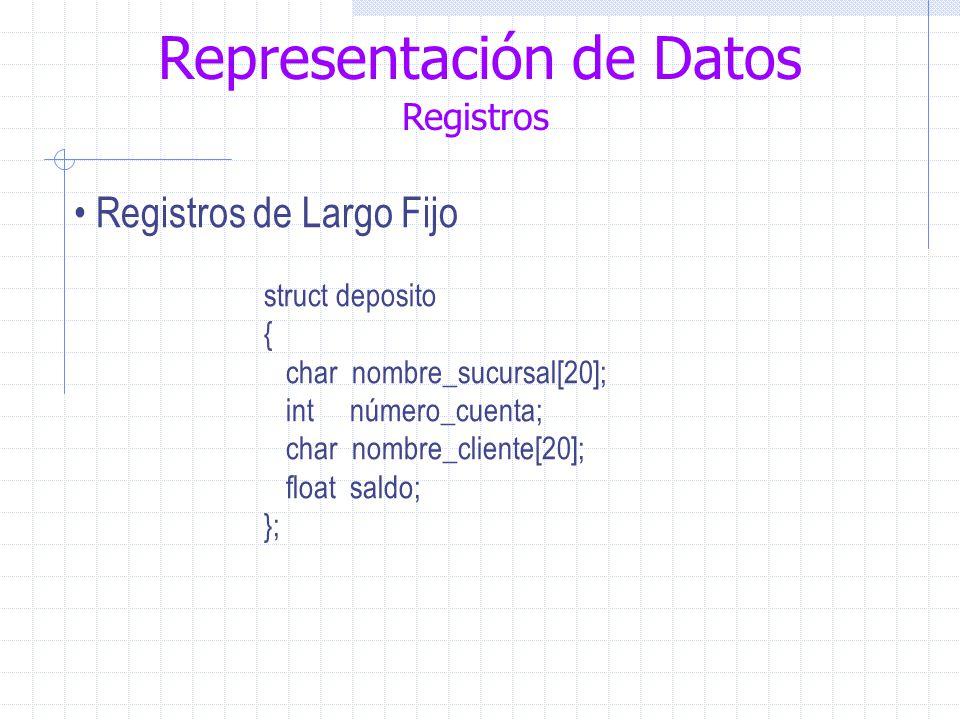 Representación de Datos Registros Registros de Largo Fijo struct deposito { char nombre_sucursal[20]; int número_cuenta; char nombre_cliente[20]; float saldo; };