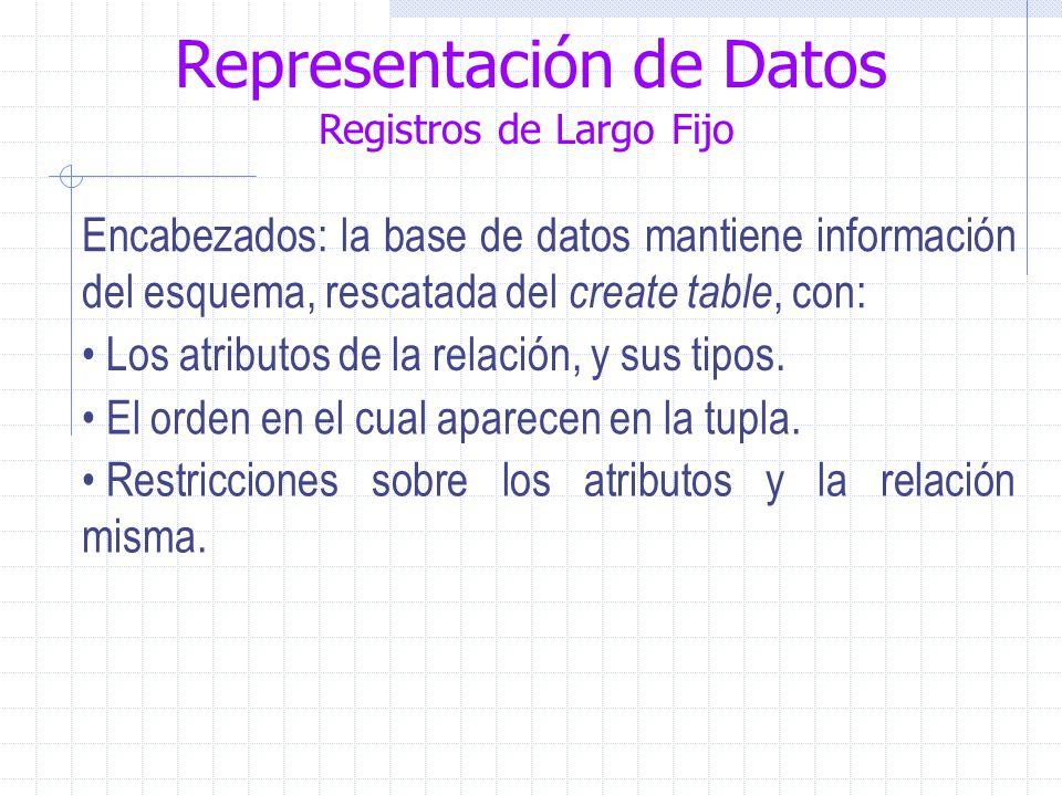Representación de Datos Registros de Largo Fijo Encabezados: la base de datos mantiene información del esquema, rescatada del create table, con: Los atributos de la relación, y sus tipos.