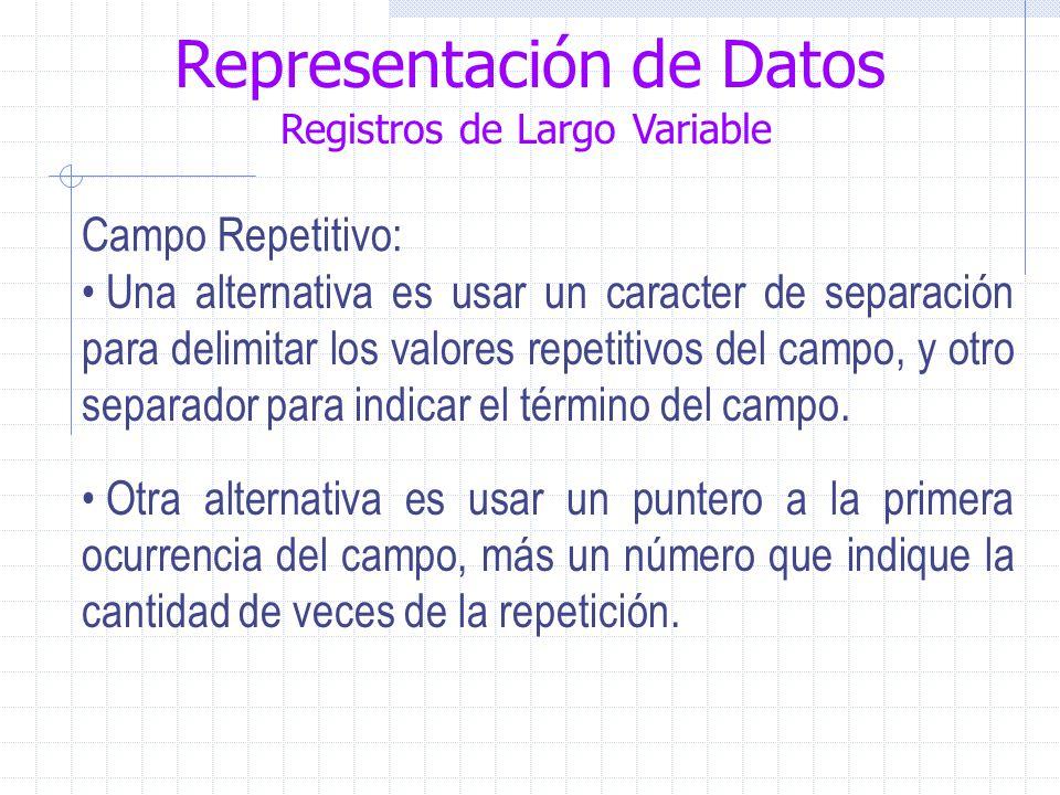 Representación de Datos Registros de Largo Variable Campo Repetitivo: Una alternativa es usar un caracter de separación para delimitar los valores repetitivos del campo, y otro separador para indicar el término del campo.