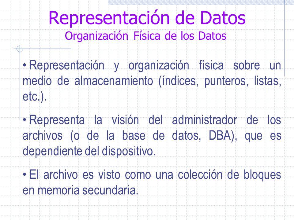 Representación de Datos Organización Física de los Datos Representación y organización física sobre un medio de almacenamiento (índices, punteros, listas, etc.).