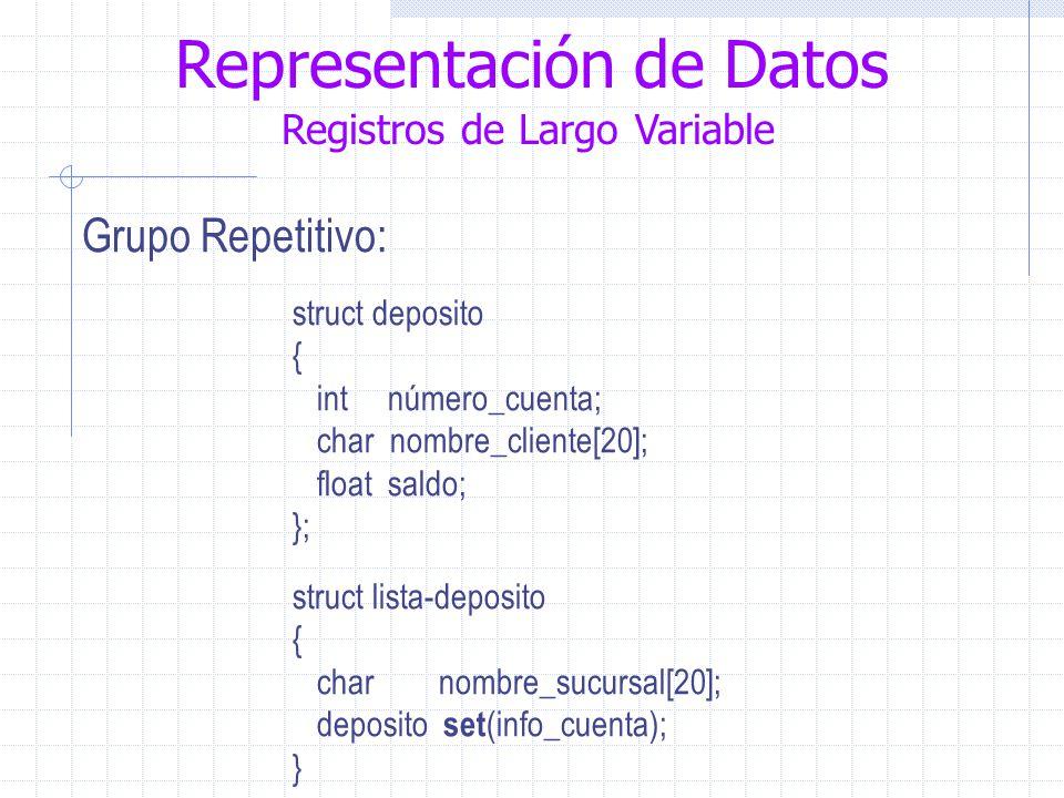 Representación de Datos Registros de Largo Variable Grupo Repetitivo: struct deposito { int número_cuenta; char nombre_cliente[20]; float saldo; }; struct lista-deposito { char nombre_sucursal[20]; deposito set (info_cuenta); }