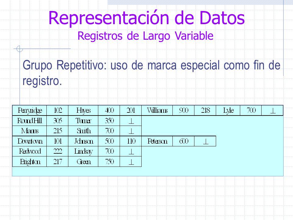 Representación de Datos Registros de Largo Variable Grupo Repetitivo: uso de marca especial como fin de registro.