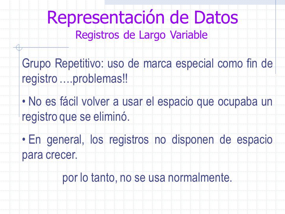 Representación de Datos Registros de Largo Variable Grupo Repetitivo: uso de marca especial como fin de registro ….problemas!.