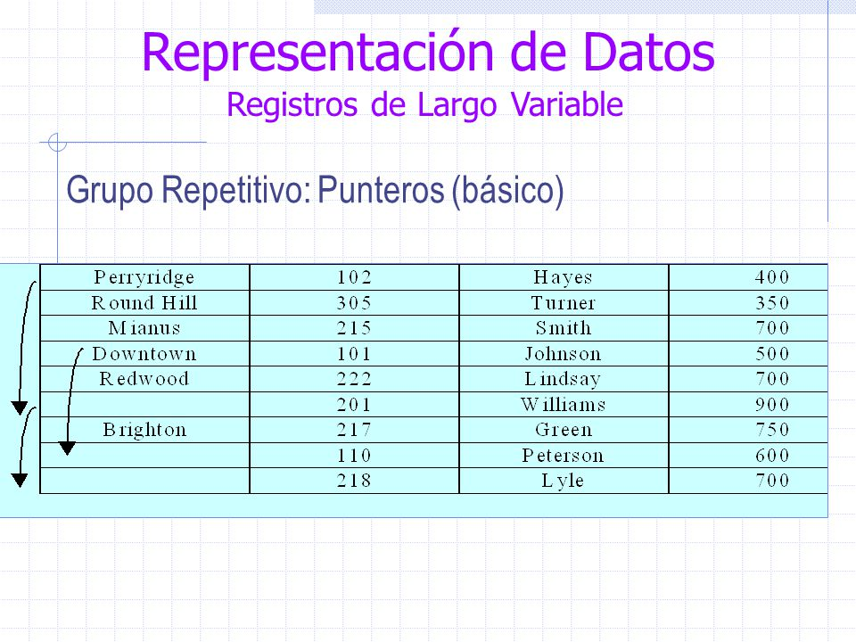 Representación de Datos Registros de Largo Variable Grupo Repetitivo: Punteros (básico)