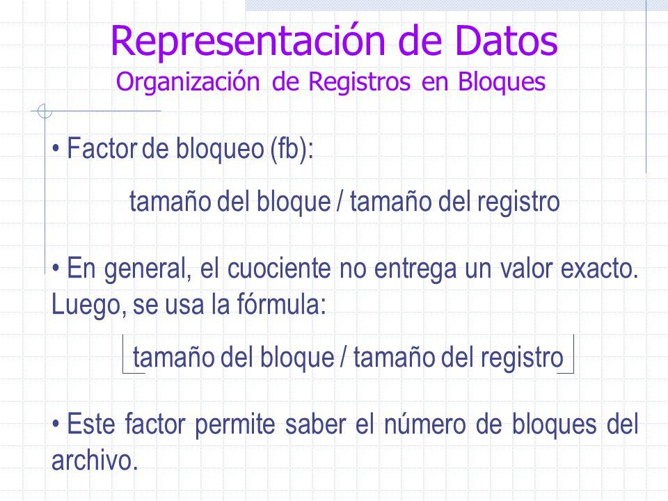 Representación de Datos Organización de Registros en Bloques Factor de bloqueo (fb): tamaño del bloque / tamaño del registro En general, el cuociente no entrega un valor exacto.