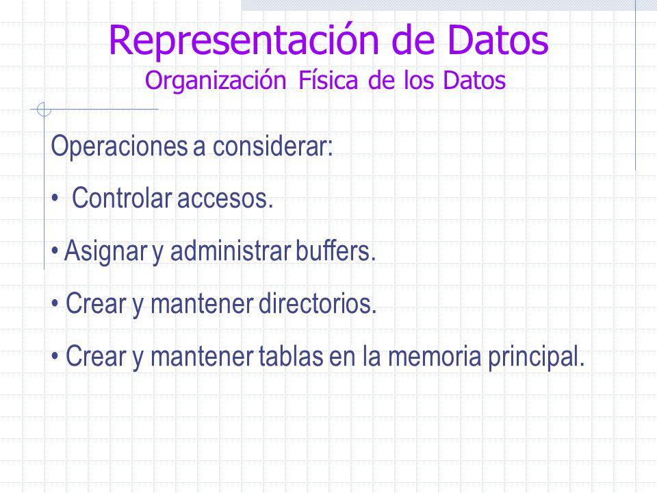 Representación de Datos Organización Física de los Datos Operaciones a considerar: Controlar accesos.