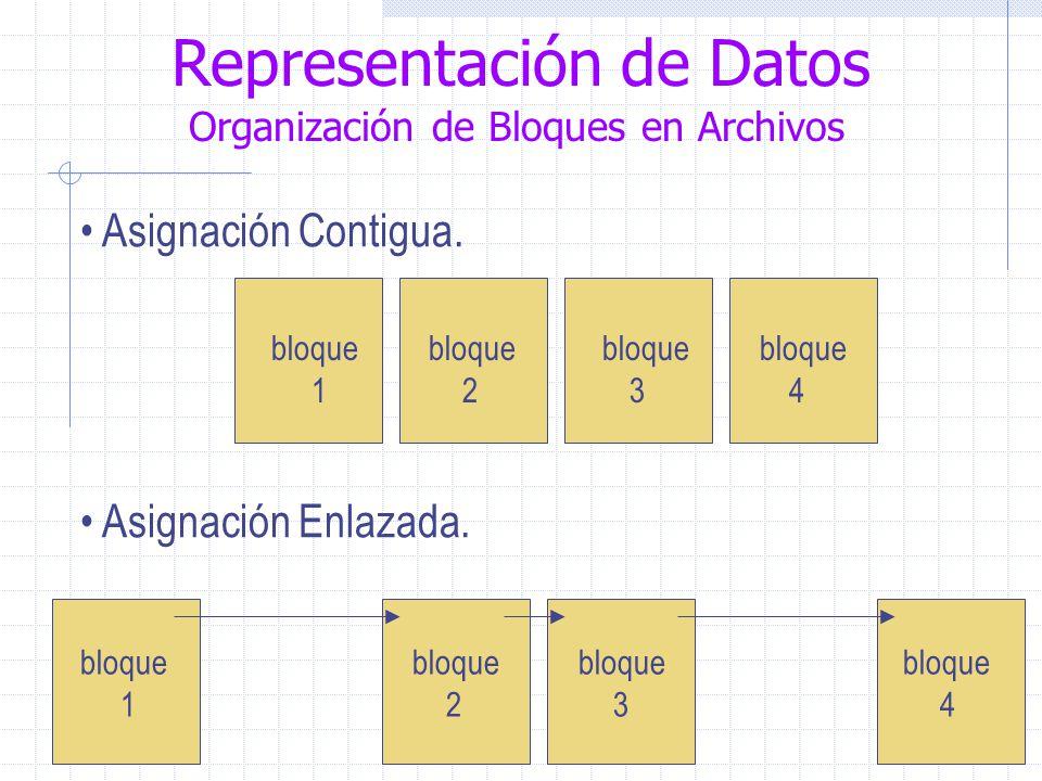 Representación de Datos Organización de Bloques en Archivos Asignación Contigua.