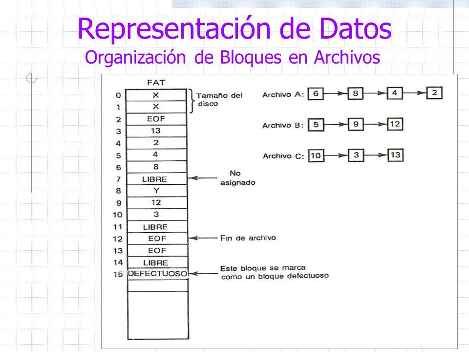 Representación de Datos Organización de Bloques en Archivos