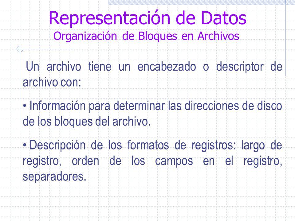 Representación de Datos Organización de Bloques en Archivos Un archivo tiene un encabezado o descriptor de archivo con: Información para determinar las direcciones de disco de los bloques del archivo.