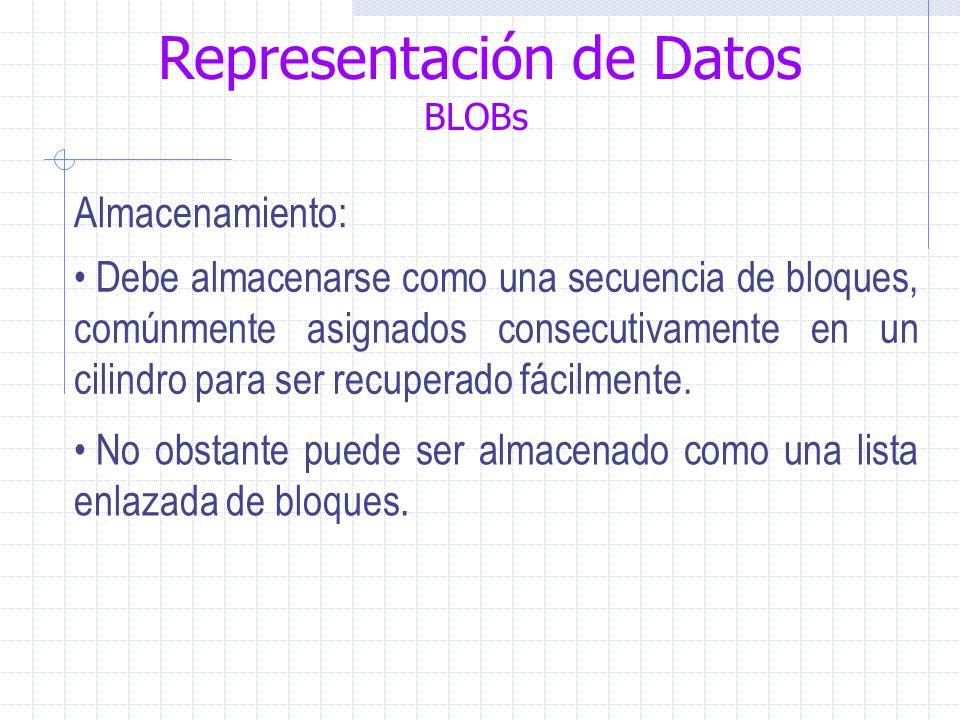 Representación de Datos BLOBs Almacenamiento: Debe almacenarse como una secuencia de bloques, comúnmente asignados consecutivamente en un cilindro para ser recuperado fácilmente.