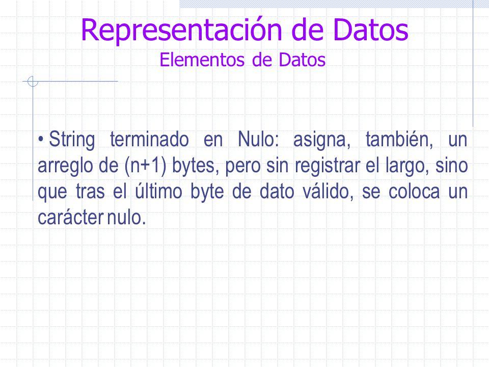Representación de Datos Elementos de Datos String terminado en Nulo: asigna, también, un arreglo de (n+1) bytes, pero sin registrar el largo, sino que tras el último byte de dato válido, se coloca un carácter nulo.