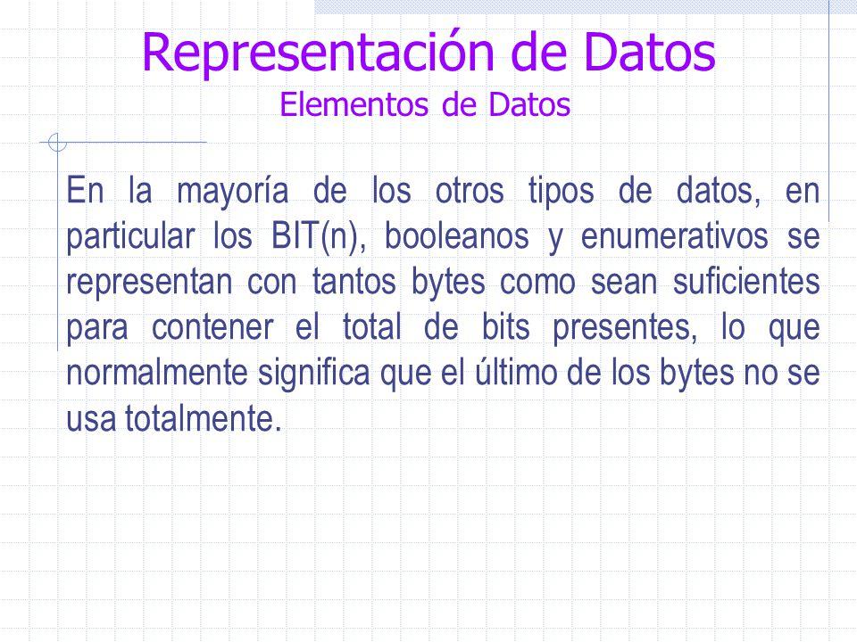 Representación de Datos Elementos de Datos En la mayoría de los otros tipos de datos, en particular los BIT(n), booleanos y enumerativos se representan con tantos bytes como sean suficientes para contener el total de bits presentes, lo que normalmente significa que el último de los bytes no se usa totalmente.