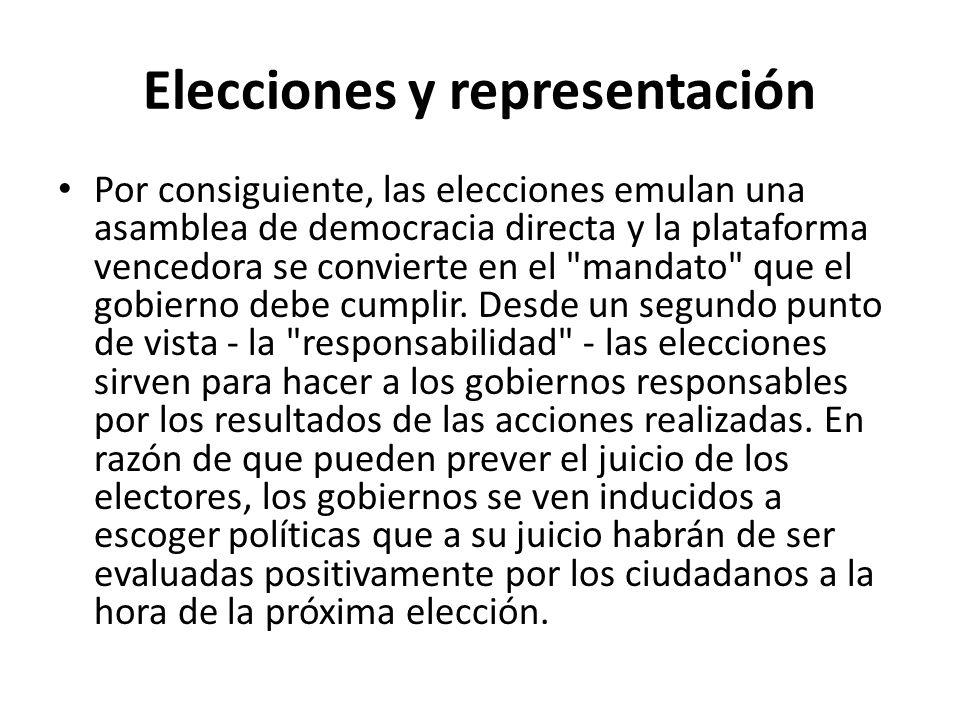 Elecciones y representación Por consiguiente, las elecciones emulan una asamblea de democracia directa y la plataforma vencedora se convierte en el mandato que el gobierno debe cumplir.