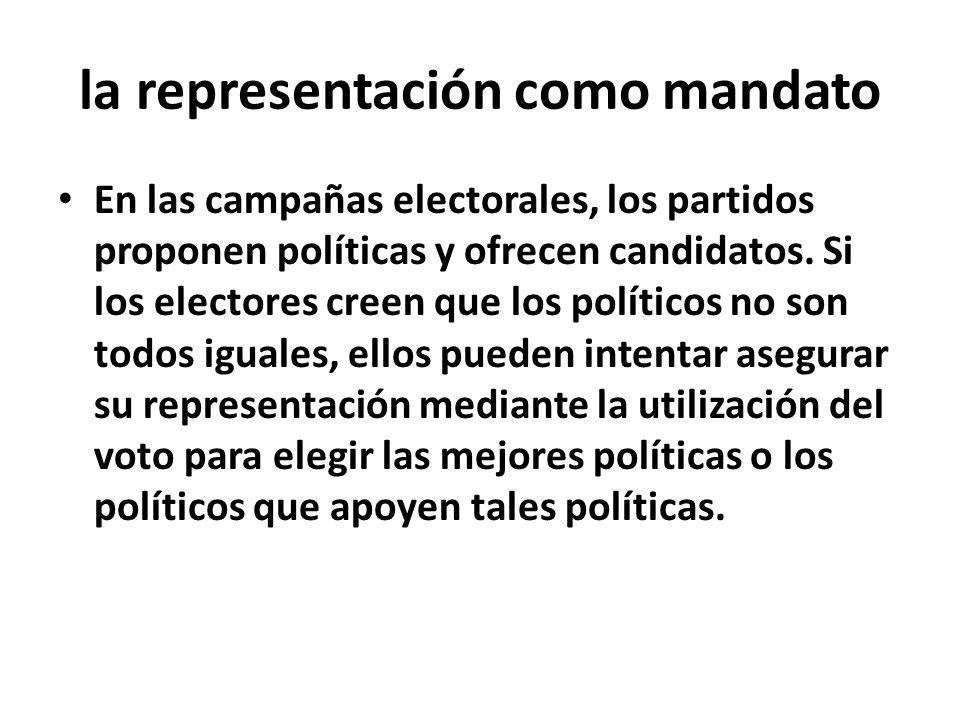 la representación como mandato En las campañas electorales, los partidos proponen políticas y ofrecen candidatos.