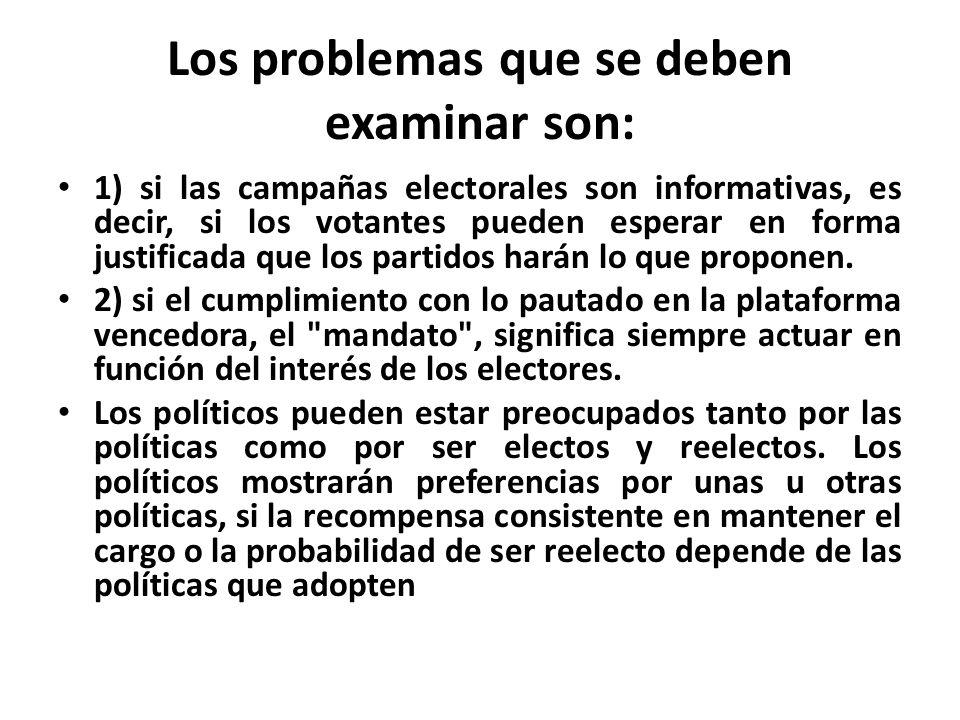 Los problemas que se deben examinar son: 1) si las campañas electorales son informativas, es decir, si los votantes pueden esperar en forma justificada que los partidos harán lo que proponen.