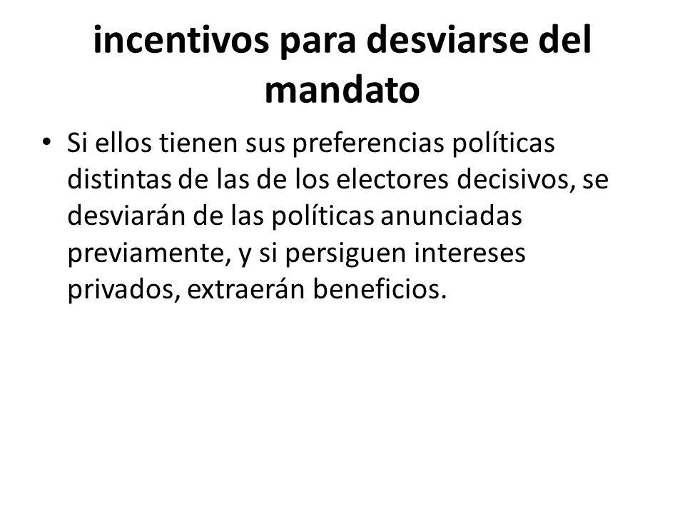 incentivos para desviarse del mandato Si ellos tienen sus preferencias políticas distintas de las de los electores decisivos, se desviarán de las políticas anunciadas previamente, y si persiguen intereses privados, extraerán beneficios.