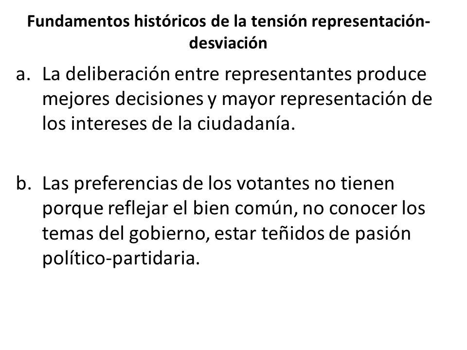 Fundamentos históricos de la tensión representación- desviación a.La deliberación entre representantes produce mejores decisiones y mayor representación de los intereses de la ciudadanía.