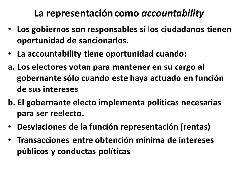 La representación como accountability Los gobiernos son responsables si los ciudadanos tienen oportunidad de sancionarlos.