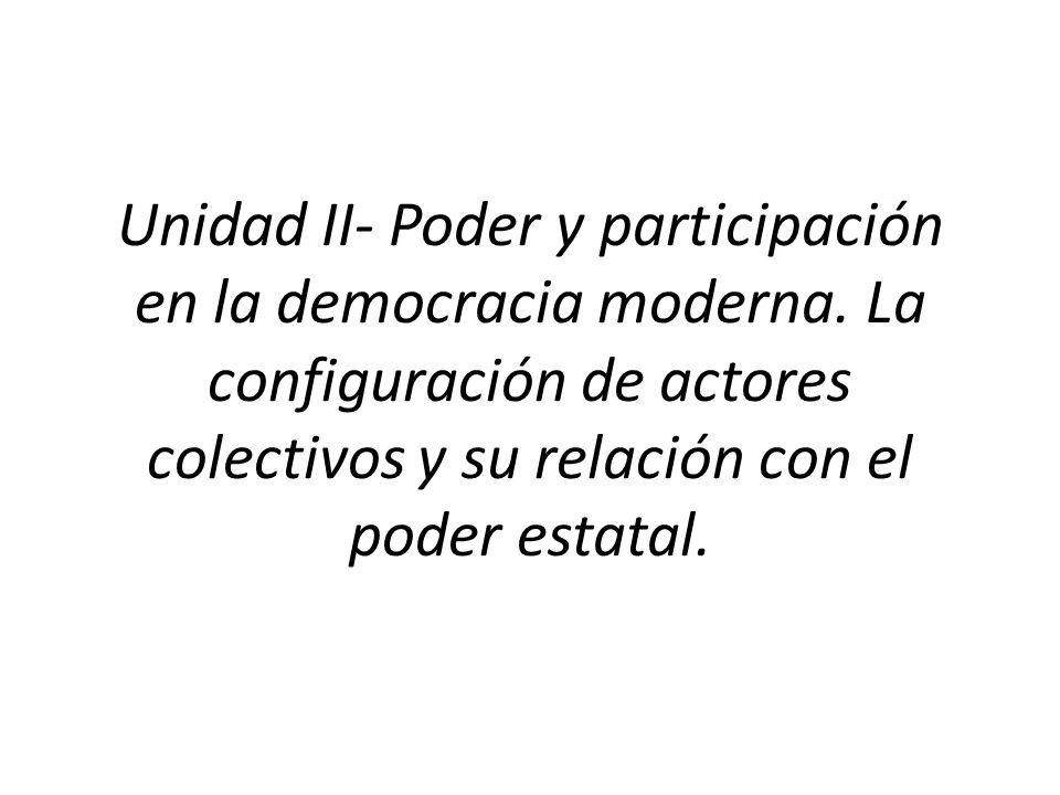 Unidad II- Poder y participación en la democracia moderna.