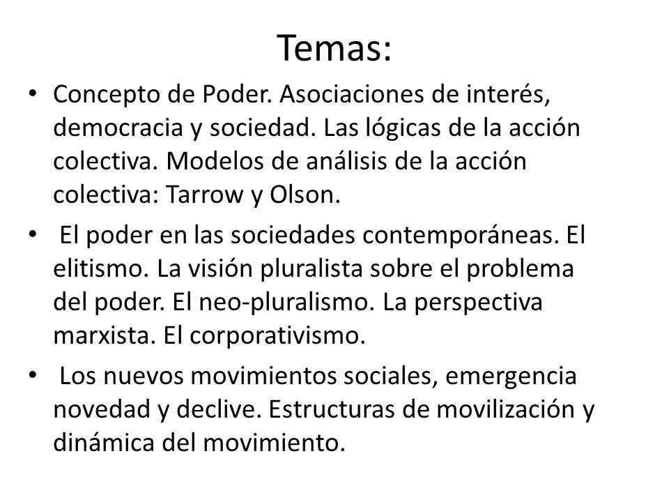 Temas: Concepto de Poder. Asociaciones de interés, democracia y sociedad.
