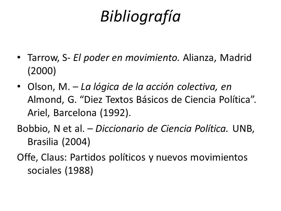 Bibliografía Tarrow, S- El poder en movimiento. Alianza, Madrid (2000) Olson, M.