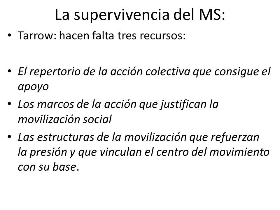 La supervivencia del MS: Tarrow: hacen falta tres recursos: El repertorio de la acción colectiva que consigue el apoyo Los marcos de la acción que justifican la movilización social Las estructuras de la movilización que refuerzan la presión y que vinculan el centro del movimiento con su base.