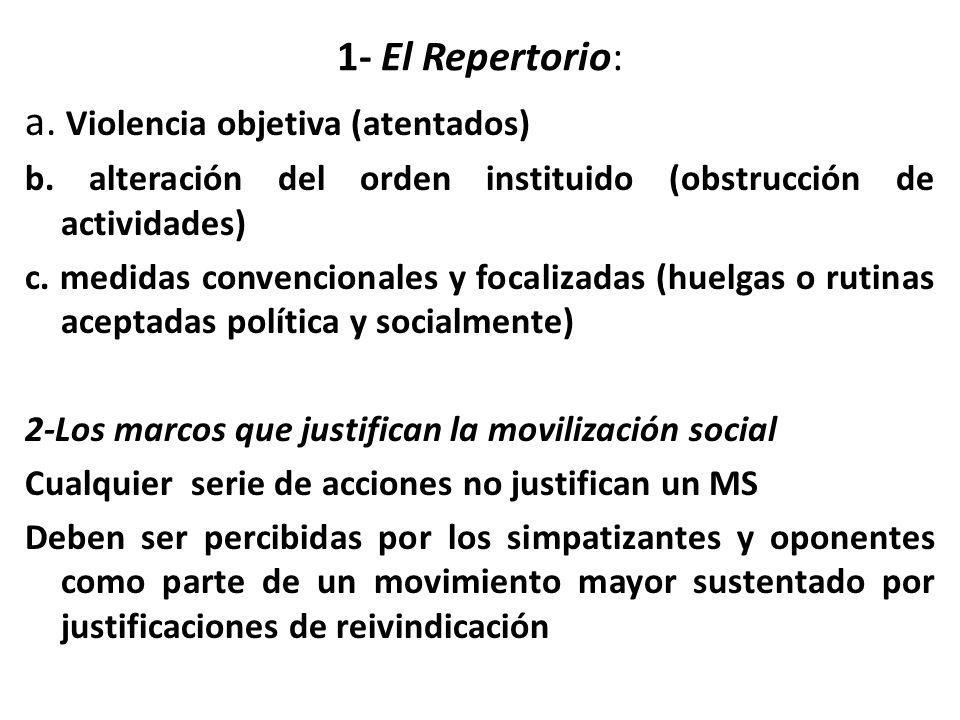 1- El Repertorio: a. Violencia objetiva (atentados) b.