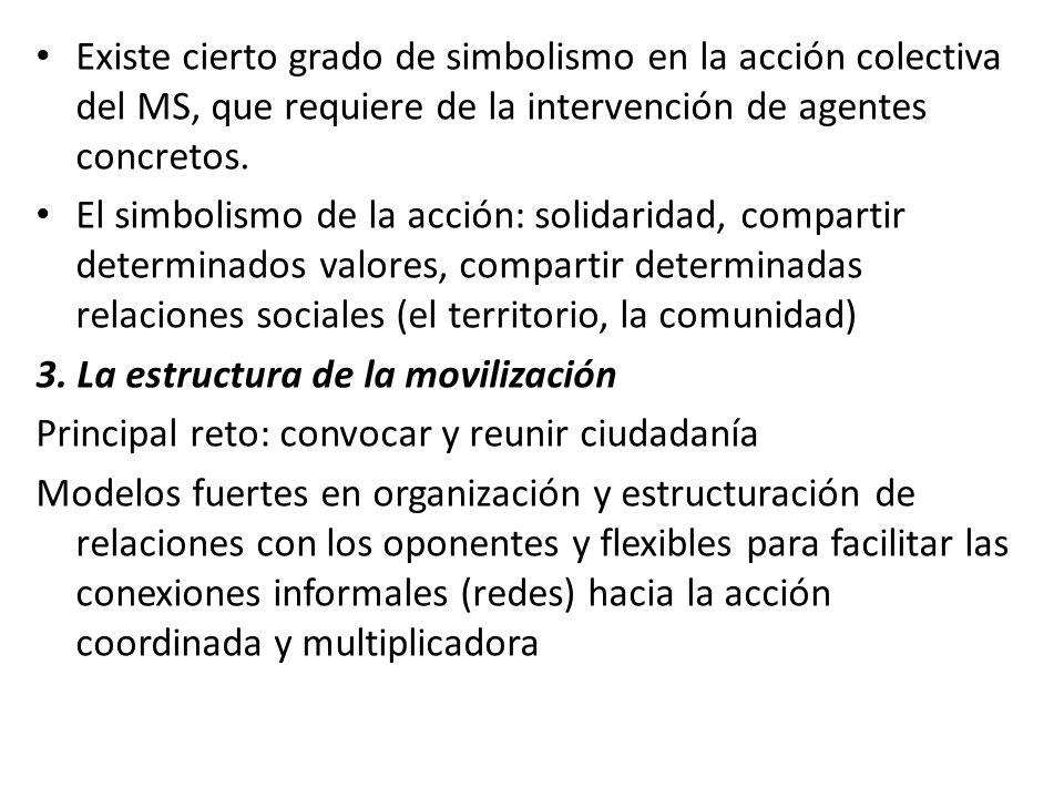 Existe cierto grado de simbolismo en la acción colectiva del MS, que requiere de la intervención de agentes concretos.