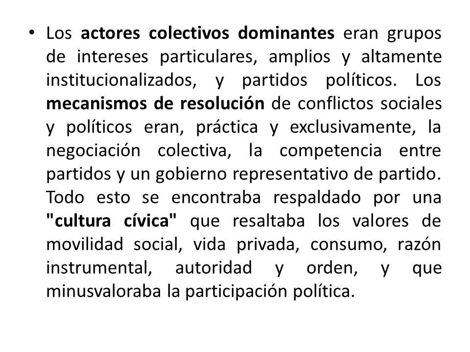 Los actores colectivos dominantes eran grupos de intereses particulares, amplios y altamente institucionalizados, y partidos políticos.