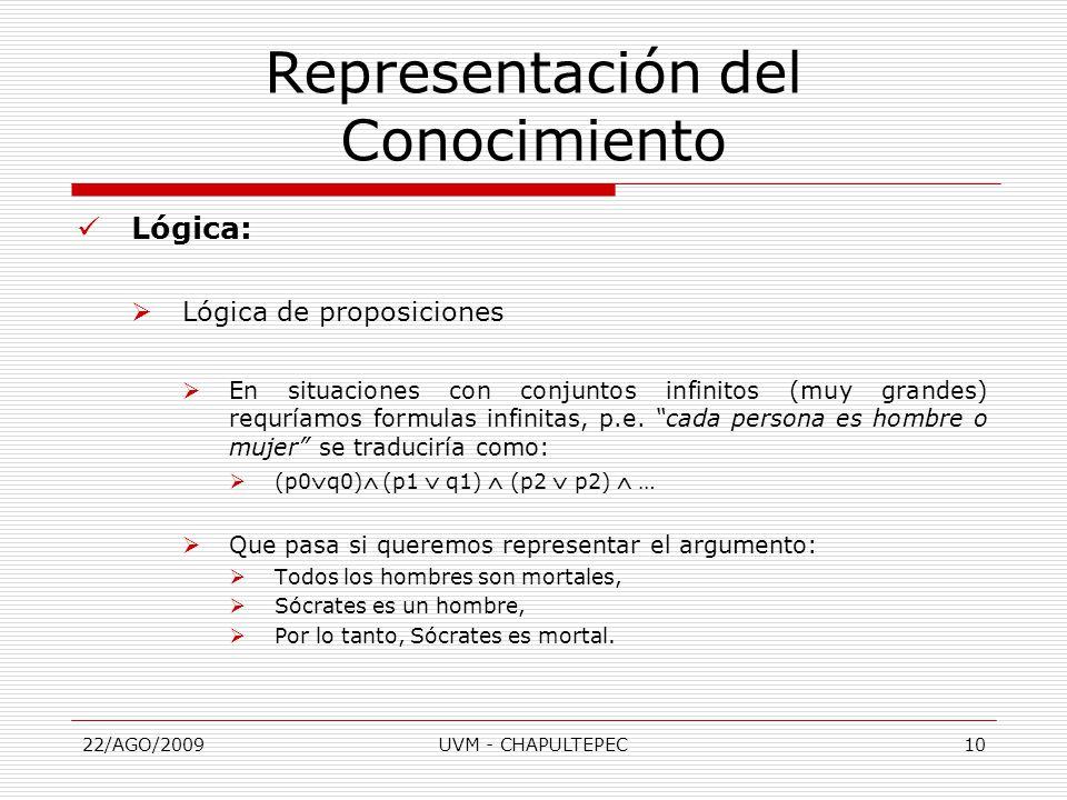 22/AGO/2009UVM - CHAPULTEPEC10 Lógica:  Lógica de proposiciones  En situaciones con conjuntos infinitos (muy grandes) requríamos formulas infinitas, p.e.