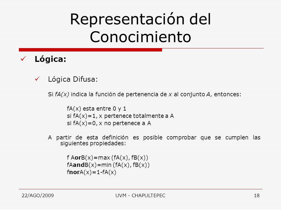 22/AGO/2009UVM - CHAPULTEPEC18 Lógica: Lógica Difusa: Si fA(x) indica la función de pertenencia de x al conjunto A, entonces: fA(x) esta entre 0 y 1 si fA(x)=1, x pertenece totalmente a A si fA(x)=0, x no pertenece a A A partir de esta definición es posible comprobar que se cumplen las siguientes propiedades: f AorB(x)=max (fA(x), fB(x)) fAandB(x)=min (fA(x), fB(x)) fnorA(x)=1-fA(x) Representación del Conocimiento