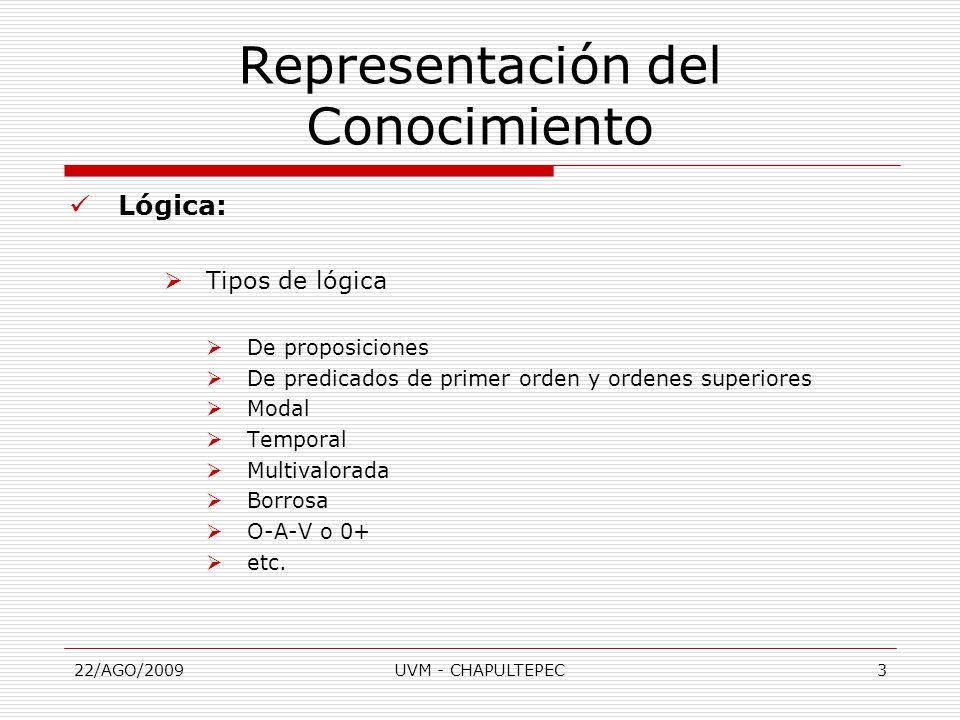 22/AGO/2009UVM - CHAPULTEPEC3 Lógica:  Tipos de lógica  De proposiciones  De predicados de primer orden y ordenes superiores  Modal  Temporal  Multivalorada  Borrosa  O-A-V o 0+  etc.