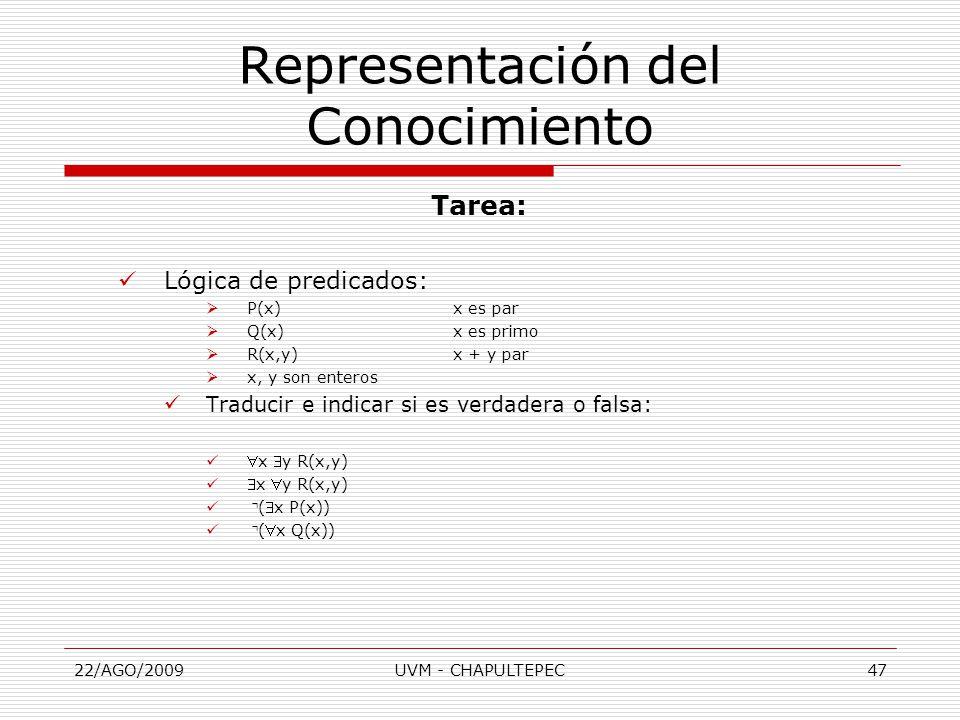 22/AGO/2009UVM - CHAPULTEPEC47 Tarea: Lógica de predicados:  P(x)x es par  Q(x)x es primo  R(x,y)x + y par  x, y son enteros Traducir e indicar si es verdadera o falsa: x y R(x,y) x y R(x,y) ⌝ (x P(x)) ⌝ (x Q(x)) Representación del Conocimiento