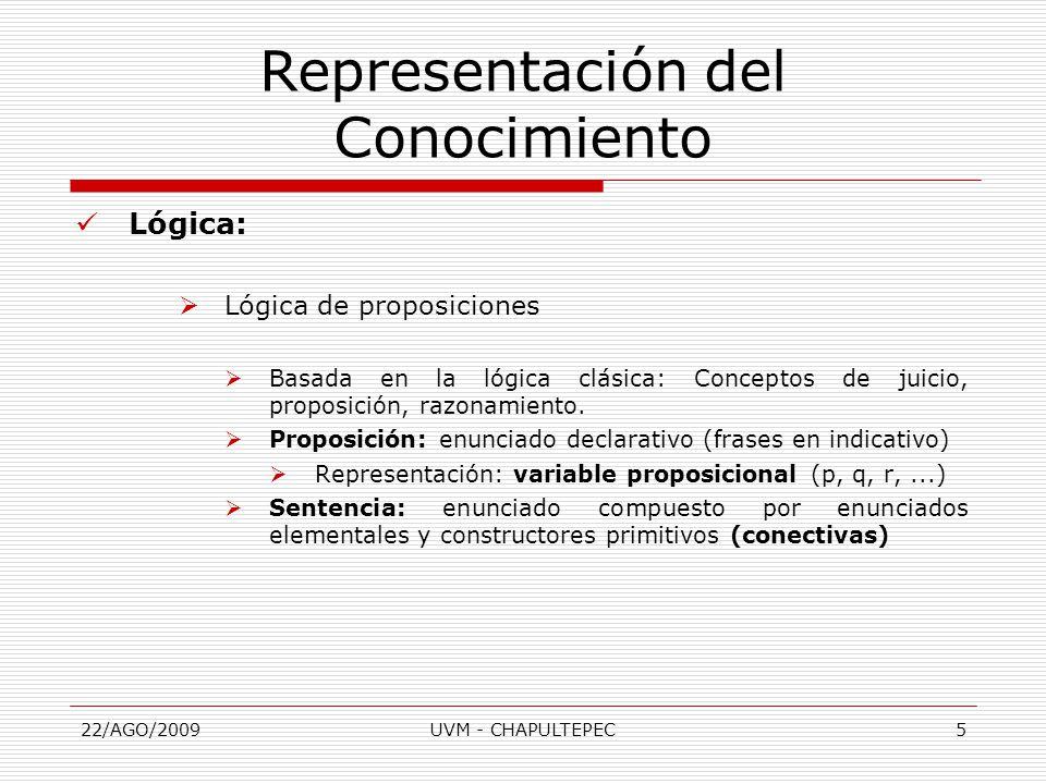 22/AGO/2009UVM - CHAPULTEPEC5 Lógica:  Lógica de proposiciones  Basada en la lógica clásica: Conceptos de juicio, proposición, razonamiento.