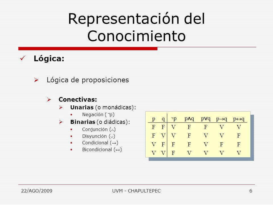 22/AGO/2009UVM - CHAPULTEPEC6 Lógica:  Lógica de proposiciones  Conectivas:  Unarias (o monádicas):  Negación ( ⌝ p)  Binarias (o diádicas):  Conjunción ()  Disyunción ()  Condicional ( → )  Bicondicional ( ↔ ) Representación del Conocimiento
