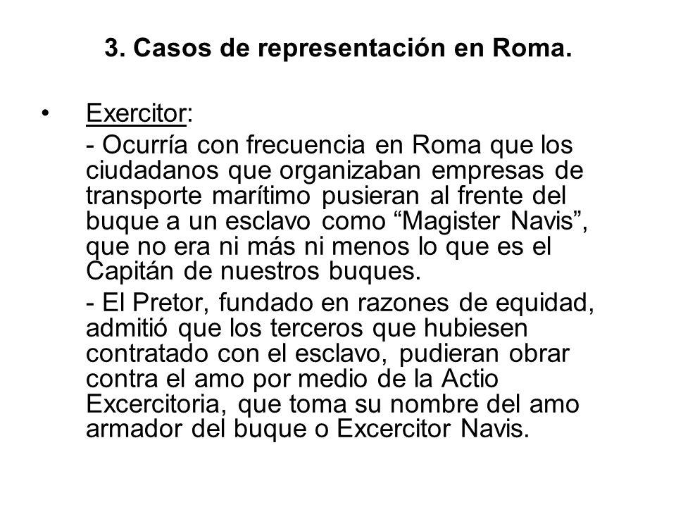 3. Casos de representación en Roma.
