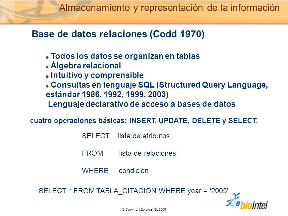 © Copyright Ebiointel,SL 2006 Base de datos relaciones (Codd 1970) Todos los datos se organizan en tablas Álgebra relacional Intuitivo y comprensible Consultas en lenguaje SQL (Structured Query Language, estándar 1986, 1992, 1999, 2003) Lenguaje declarativo de acceso a bases de datos SELECT lista de atributos FROM lista de relaciones WHERE condición SELECT * FROM TABLA_CITACION WHERE year = '2005' Almacenamiento y representación de la información cuatro operaciones básicas: INSERT, UPDATE, DELETE y SELECT.