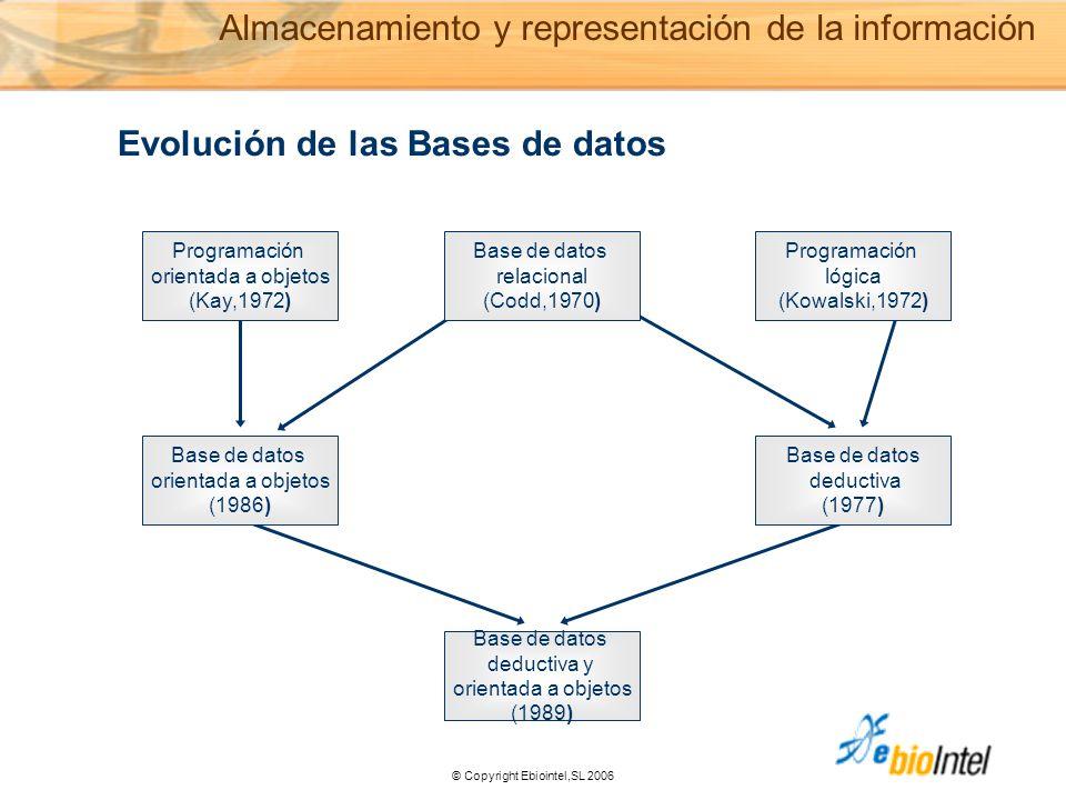 © Copyright Ebiointel,SL 2006 n Programación orientada a objetos (Kay,1972) Programación lógica (Kowalski,1972) Base de datos deductiva (1977) Base de datos orientada a objetos (1986) Base de datos deductiva y orientada a objetos (1989) Base de datos relacional (Codd,1970) Evolución de las Bases de datos Almacenamiento y representación de la información