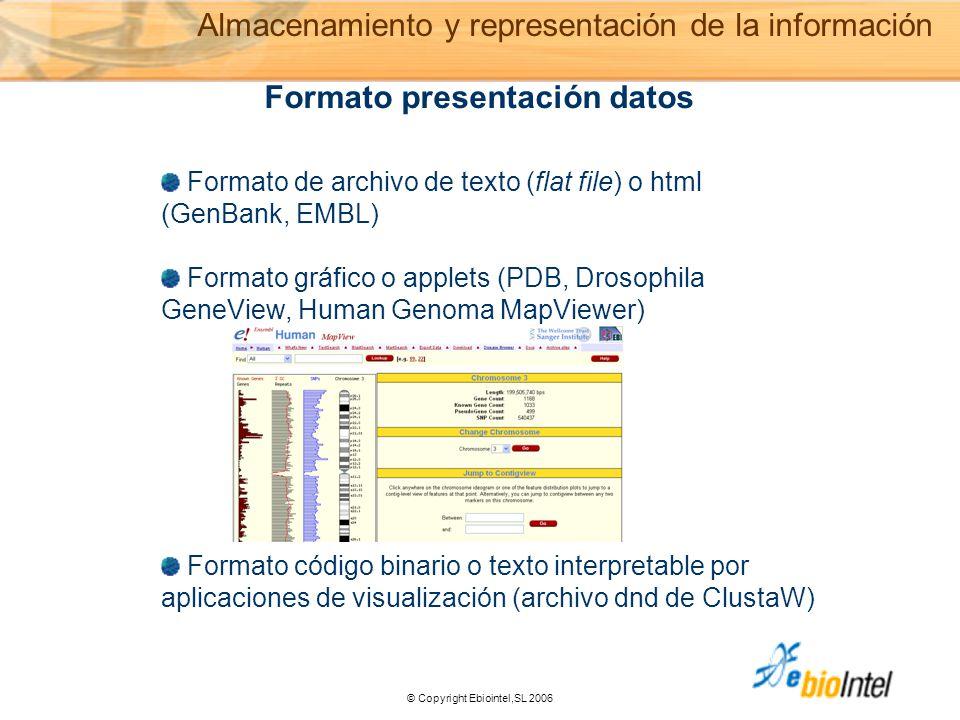 © Copyright Ebiointel,SL 2006 Formato de archivo de texto (flat file) o html (GenBank, EMBL) Formato gráfico o applets (PDB, Drosophila GeneView, Human Genoma MapViewer) Formato código binario o texto interpretable por aplicaciones de visualización (archivo dnd de ClustaW) Formato presentación datos Almacenamiento y representación de la información