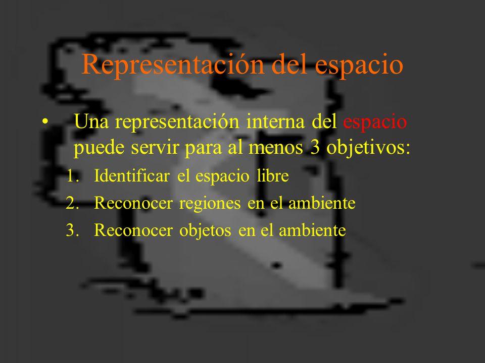 Representación del espacio Una representación interna del espacio puede servir para al menos 3 objetivos: 1.Identificar el espacio libre 2.Reconocer regiones en el ambiente 3.Reconocer objetos en el ambiente