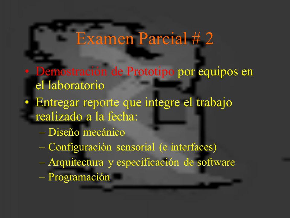 Examen Parcial # 2 Demostración de Prototipo por equipos en el laboratorio Entregar reporte que integre el trabajo realizado a la fecha: –Diseño mecánico –Configuración sensorial (e interfaces) –Arquitectura y especificación de software –Programación