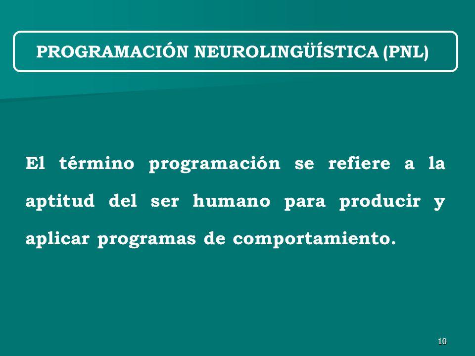 10 El término programación se refiere a la aptitud del ser humano para producir y aplicar programas de comportamiento.