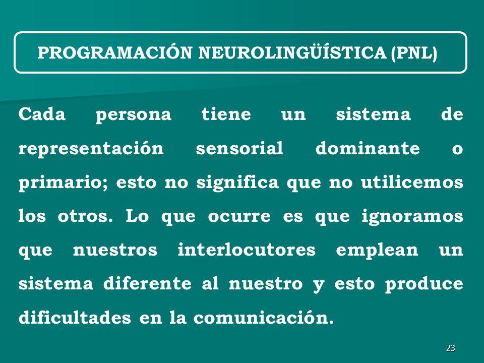 23 Cada persona tiene un sistema de representación sensorial dominante o primario; esto no significa que no utilicemos los otros.