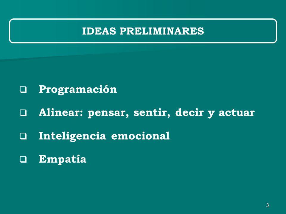 3  Programación  Alinear: pensar, sentir, decir y actuar  Inteligencia emocional  Empatía IDEAS PRELIMINARES