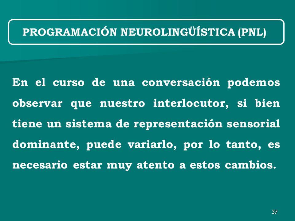 37 En el curso de una conversación podemos observar que nuestro interlocutor, si bien tiene un sistema de representación sensorial dominante, puede variarlo, por lo tanto, es necesario estar muy atento a estos cambios.