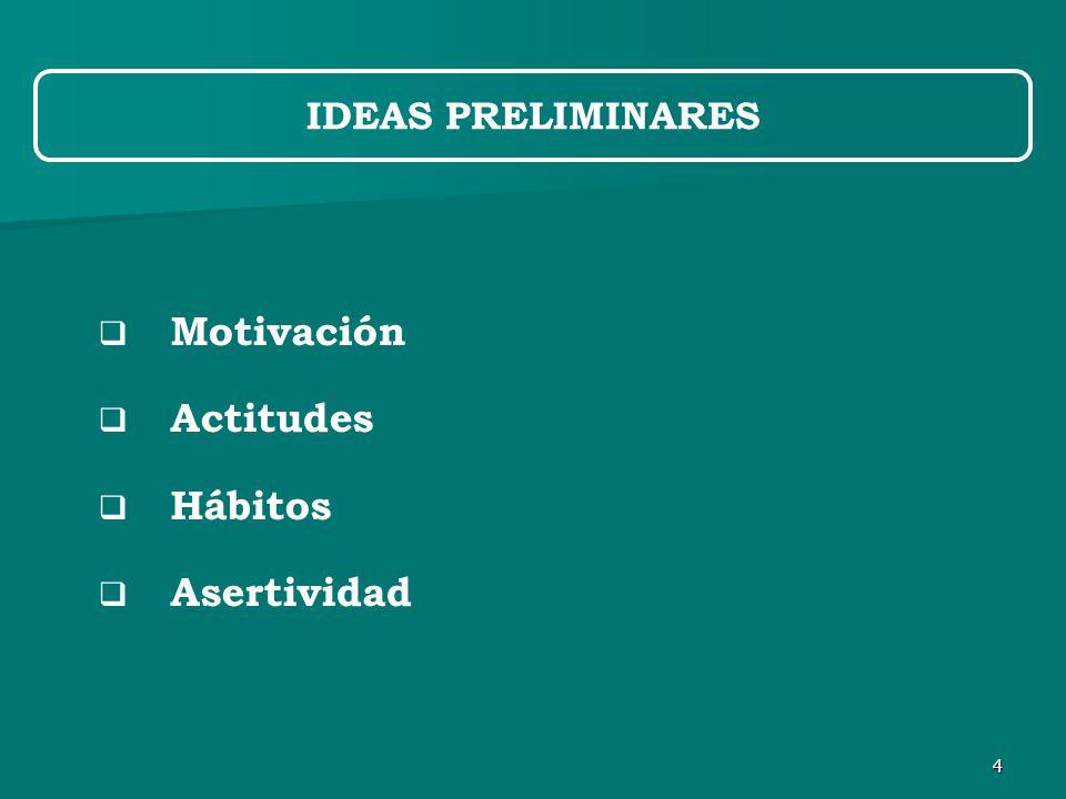 4  Motivación  Actitudes  Hábitos  Asertividad IDEAS PRELIMINARES