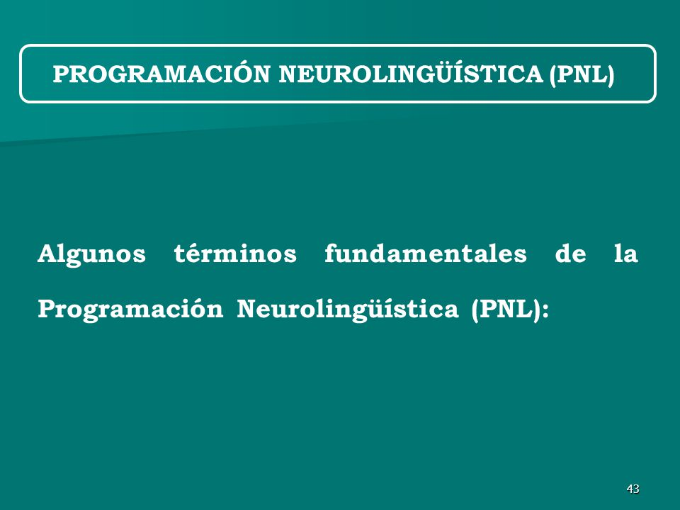 43 Algunos términos fundamentales de la Programación Neurolingüística (PNL): PROGRAMACIÓN NEUROLINGÜÍSTICA (PNL)